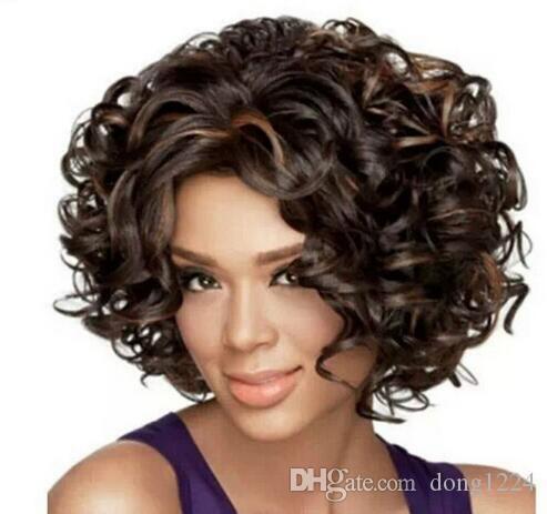 Envío Gratis moda sexy mujeres señoras mezclado rizado marrón Natural del pelo pelucas de las mujeres