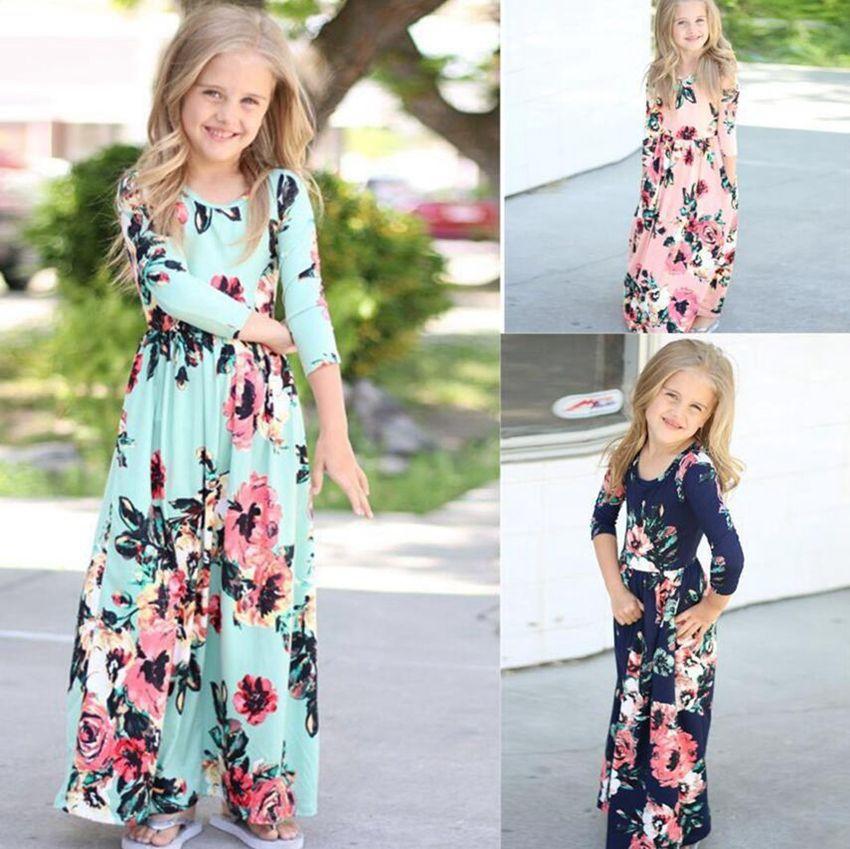 Bebek Kız Çocuk Uzun Ayak bileği Uzunluk Elbise Çiçek Prenses Parti Elbise Kıyafetler Elbise Düğün Kostüm Maxi Çiçek elbise 5colors LJJK2025 yazdır