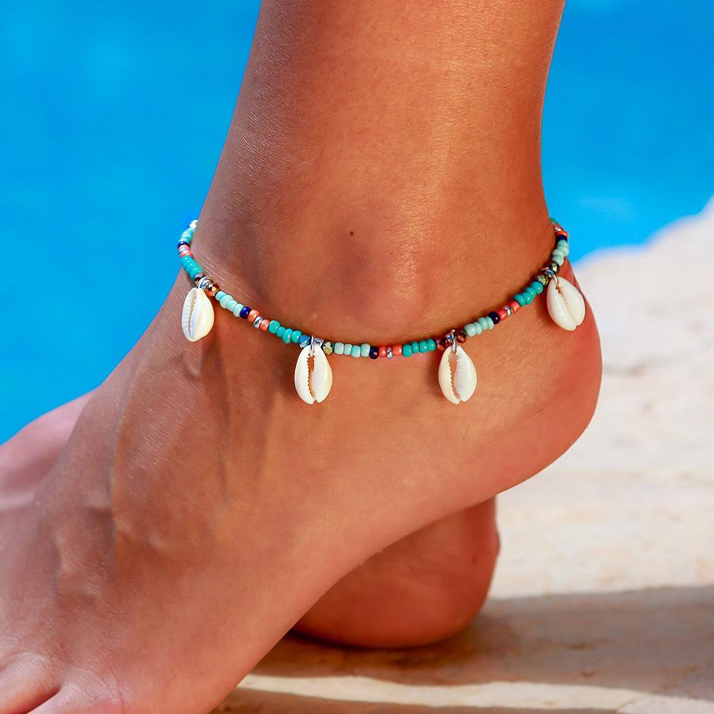 Beach Anklets Chains Fashion Colorful Beads Natural Shell Pendant Foot Ankle Bracelet Chain for Women Bohemian Seaside Bohemian Jewelry Gift