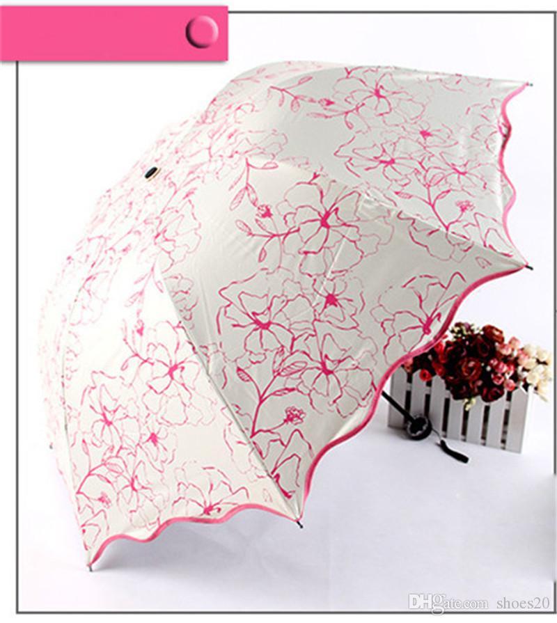 Hibiskus-Druck-Regenschirm-Spitze-Handbuch dreifach faltender UVschutz-Entwerfer-Regenschirm-im Freienhochzeits-Brautjunfer-Brautregenschirm Freies Verschiffen