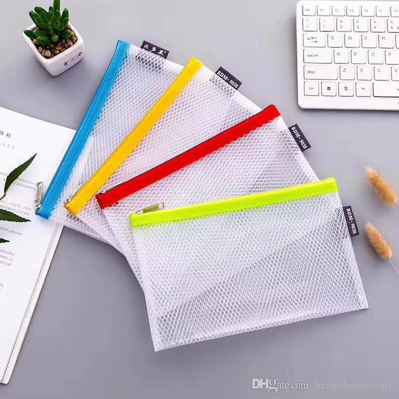 EVA Waterproof File Folder File Pocket Grid Zipper Document Bag Archival Bags Colorful Classified Storage Student Stationery Bag BC BH1489
