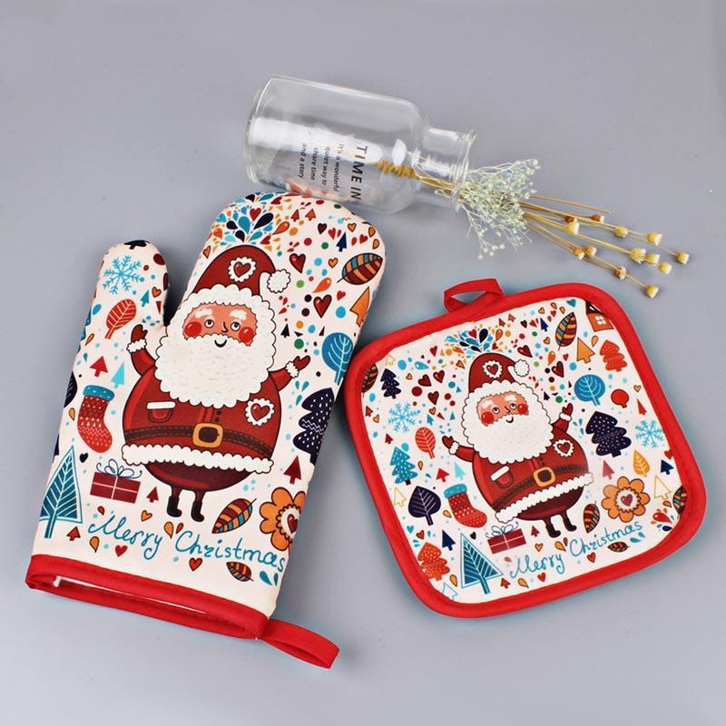 2pcs / set Weihnachtsbacken Anti-Hot-Handschuhe Pad Oven Dining Grill Küche Mat Neujahr Navidad Weihnachtsfest-Dekoration Supplies