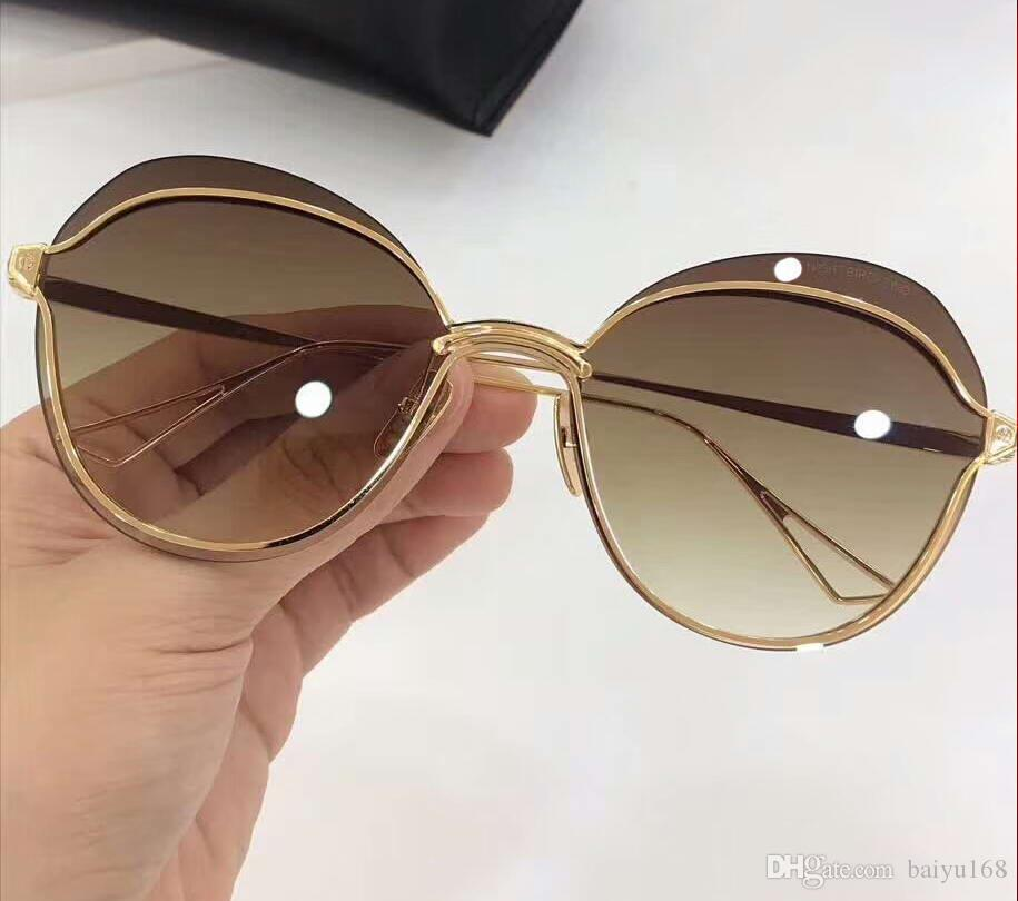Gafas de sol noche pájaro de la sombra pardo dos gafas de sol de oro de la mariposa / Mujeres de los vidrios sin rebordes de Sombras nuevo en caja
