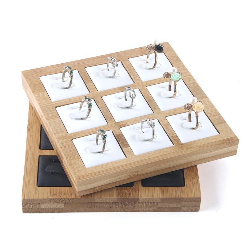New 9 Grids Bamboo jóia anel mostrar visualizar a bandeja brinco da orelha Stud Caixa da jóia Showcase bandeja Organizer Armazenamento