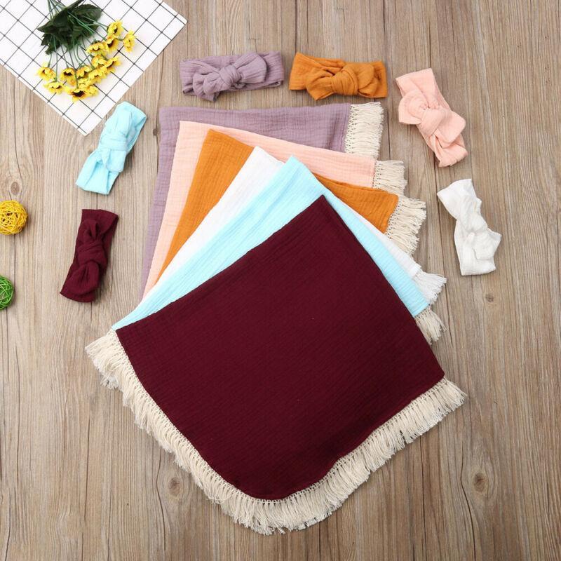 2019 Marke Neugeborenes Baby Boy Swaddle Wrap Quaste Blanket Stirnband Muslin 100% Baumwolle Isomatte 6 Farben