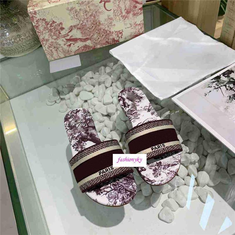Commercio all'ingrosso Designer Dazzle Fiori Pantofole donna Beach Alphabet pantofole ruvida sandali a maglia ricamo del panno Scarpe Donna
