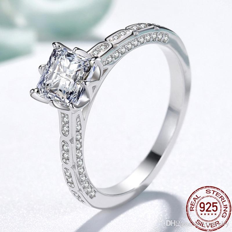 Luxury Women Ring 925 Sterling Silver Jewelry Sweet Shiny Creative Retro Square CZ Zircon Wedding Rings For Girl Gift XR212