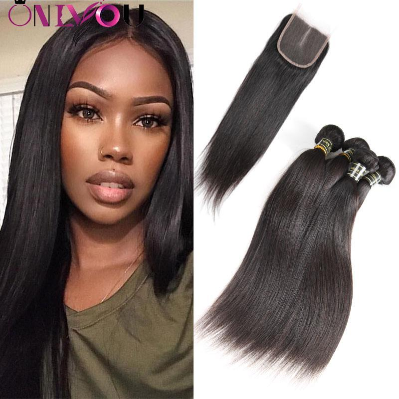 Onlyou 2 Colors Straight Human Hair 3 Bundles With Lace Closure Brazilian Virgin Hair Weave Bundles With Closure 100% Remy Hair Extensions
