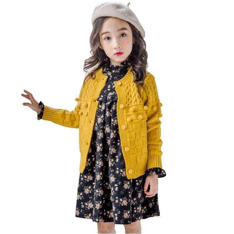 Kids Knitted Cardigan Girls Kids Jackets Baby Girls Cardigan Sweaters Tops  Spring Cute Ball Child Sweaters For Children 2 6Y Knitting Sweater Patterns
