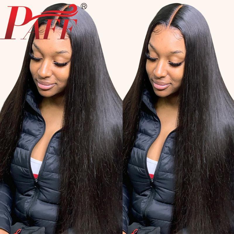 Paff 13x4 24 26 дюймов длинный черный прямой синтетический парик фронта шнурка для чернокожих женщин естественная линия роста волос термостойкое волокно Hai парик