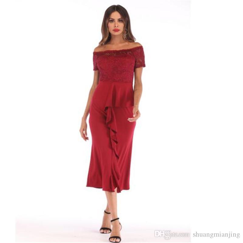 Women's lace dress fashion ruffle stitching off shoulder word collar summer dress women sexy dresses split vadim slim mid long vestidos