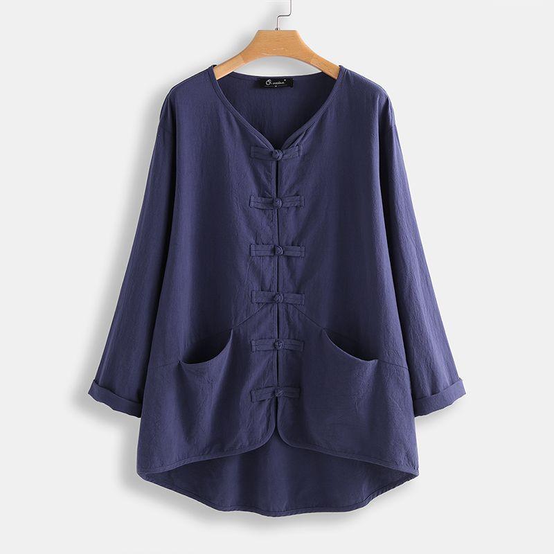2020 ZANZEA Casual Plate Button Blouse Kaftan 3/4 Sleeve Shirts Female V Neck Blusas Female Solid Tunic Plus Size Tops 5XL