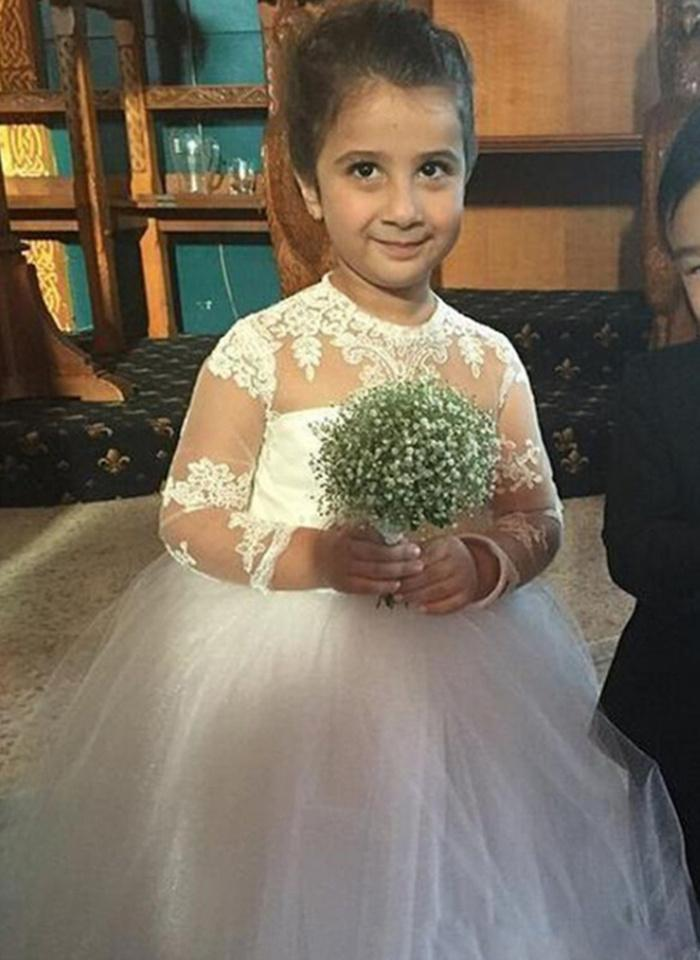 Élégante robes fille fleur dentelle blanche Applique manches longues Lovely Little Kids First Communion Sainte Tulle Robes de fête