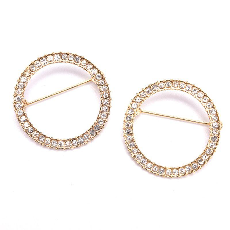 1pcs Hollow Circle Rhinestone Zircon Brooch Women Shawl Clip Scarves Fashion Crystal Broche Gift