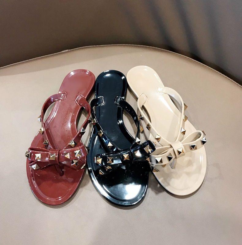 Scarpe da donna piatte con infradito papillon rivetto infradito infradito morbido in pvc spiaggia outdoor infradito infradito scarpe da donna