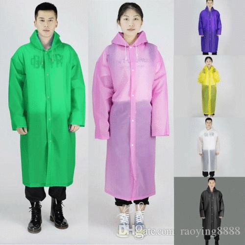 للجنسين سترات مضادة للماء EVA زر مقنع معطف واق من المطر معطف المطر المعطف ملابس ضد المطر