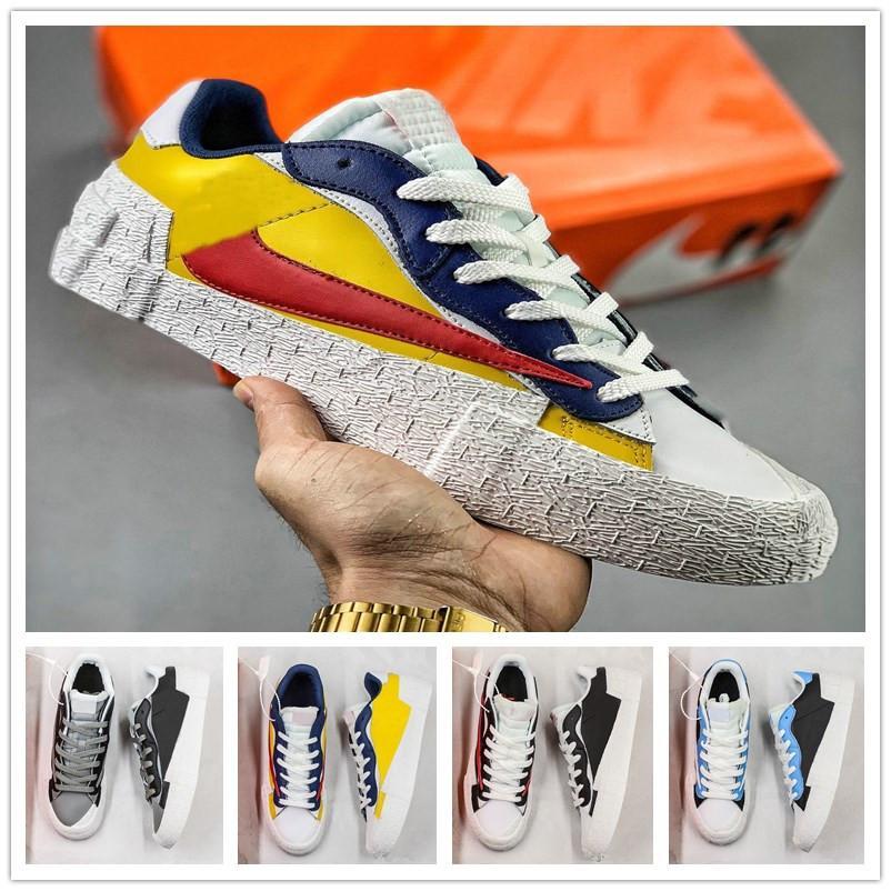 2019 Sacai X الحلل منتصف مع SB دونك منخفض معطلة معكوس هوك أبيض أسود أصفر أزرق سكيت أحذية رجالية رياضة المرأة أحذية رياضية عادية