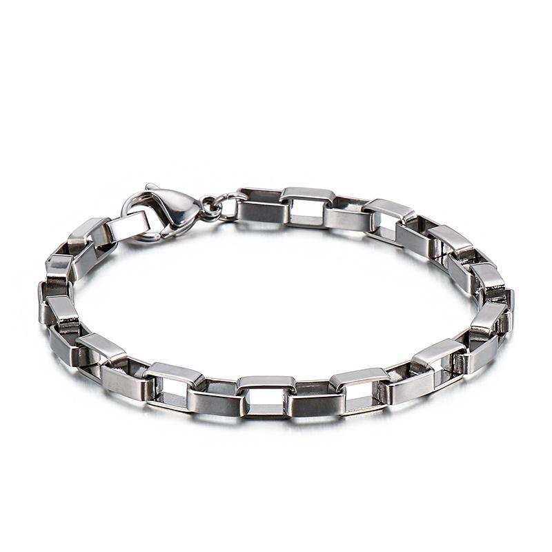 5 x mucho en 20 cm 5 mm mayor (8 '') de largo enormes de la plata de joyería de moda de acero inoxidable fresca caja- pulsera de cadena Enlace para hombres, niños, mujeres regalos