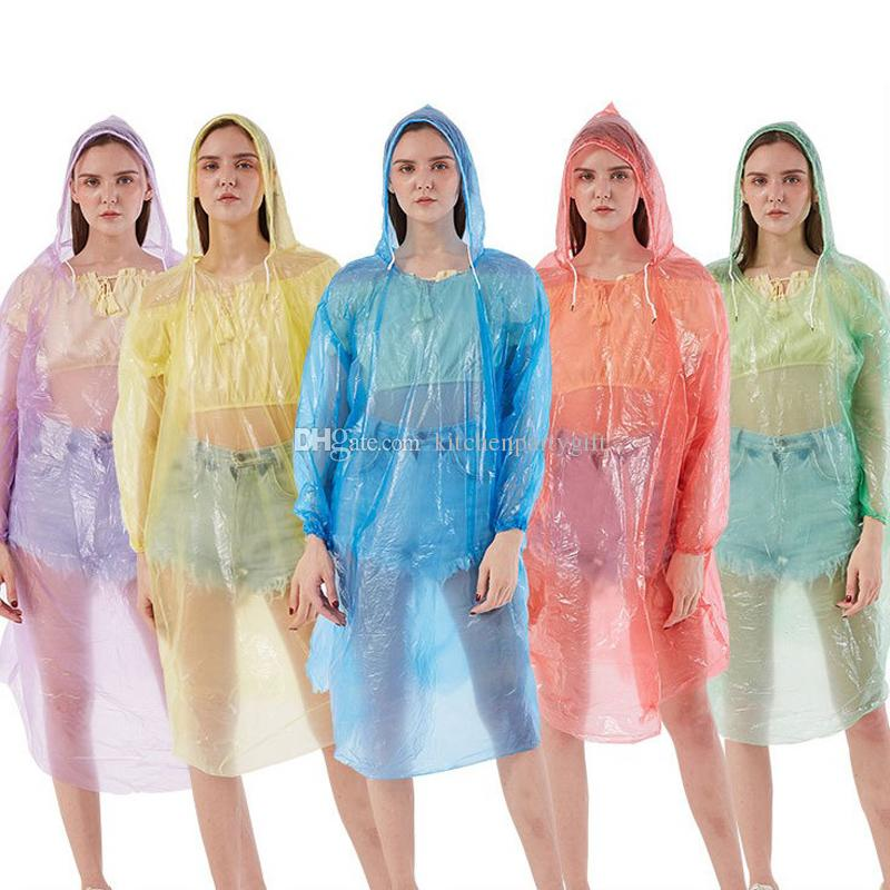 3S 50g Thicken Disposable Transparent Raincoat Adult Emergency Waterproof Hood Poncho Travel Camping Must One Time Rain Coat Impermeable
