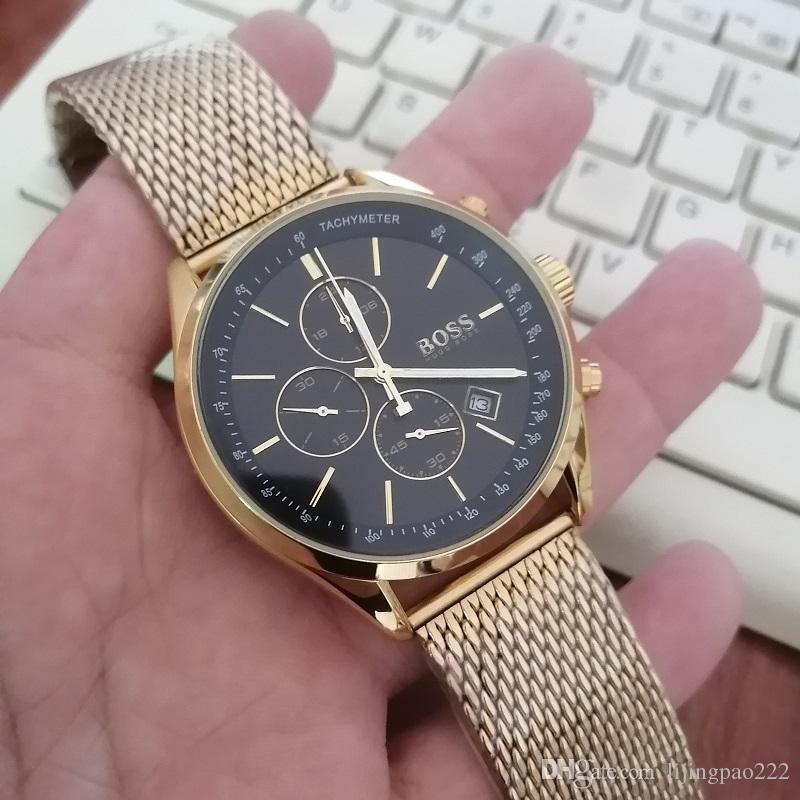 Homens de aço inoxidável relógio, relógio de luxo de quartzo, cronógrafo relógios esportivos masculinos, relógio de pulso impermeável masculino Montre homme