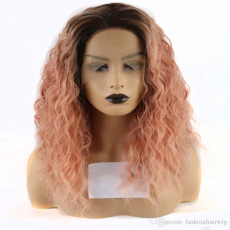 Frete grátis dianteira do laço sintético peruca mão de alta densidade resistente Preto ombre laranja rosa Calor amarrado frente do partido peruca sintética