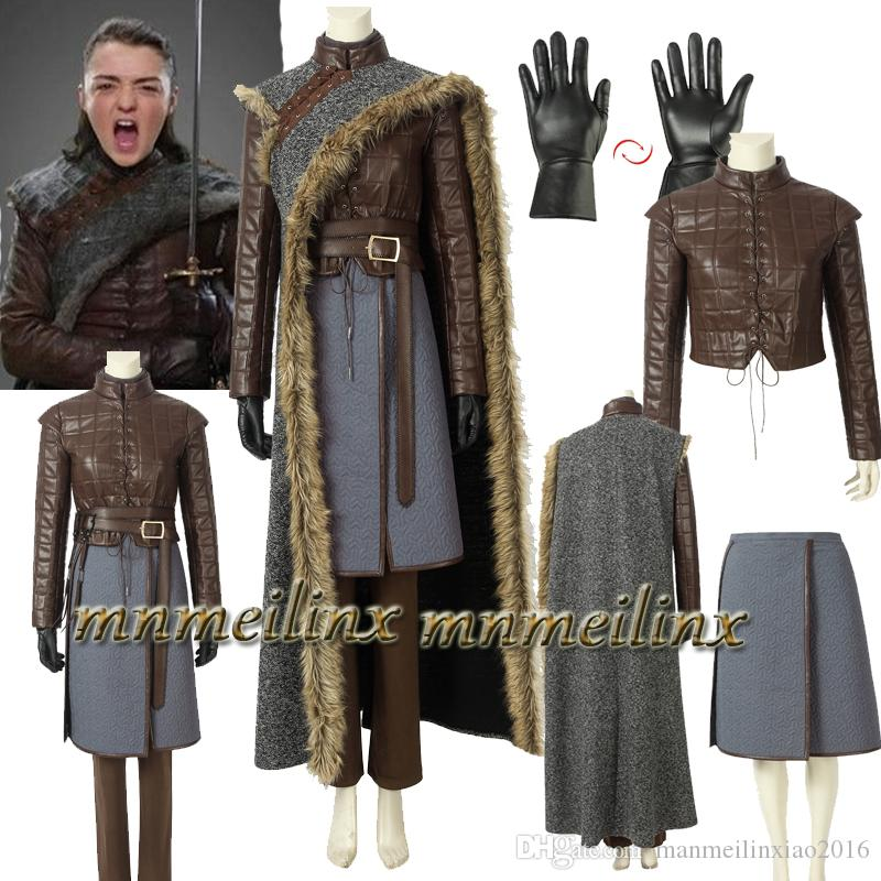 Hot Movie Game Of Thrones 8 Costume Arya Stark Jon Snow Cosplay Fancy Suit Cloak Jacket Halloween Outfit Full Set Customize Costumes For 3 People
