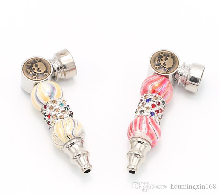 Der Hersteller verkauft direkt Doppel-Perle Farbe Bohrer tragbare Skelettkopf Rohr Topf durch Metallfilter Sieb Zigarettenspitze