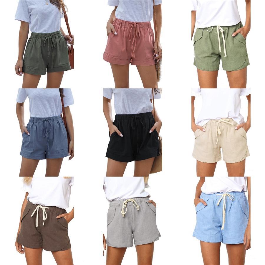 2020 coton élastique Boardshorts femmes taille d'été Femmes Casual Shorts Plage desserrent Hommes Pantalons 9 couleurs Shorts Big-nous Taille # 847