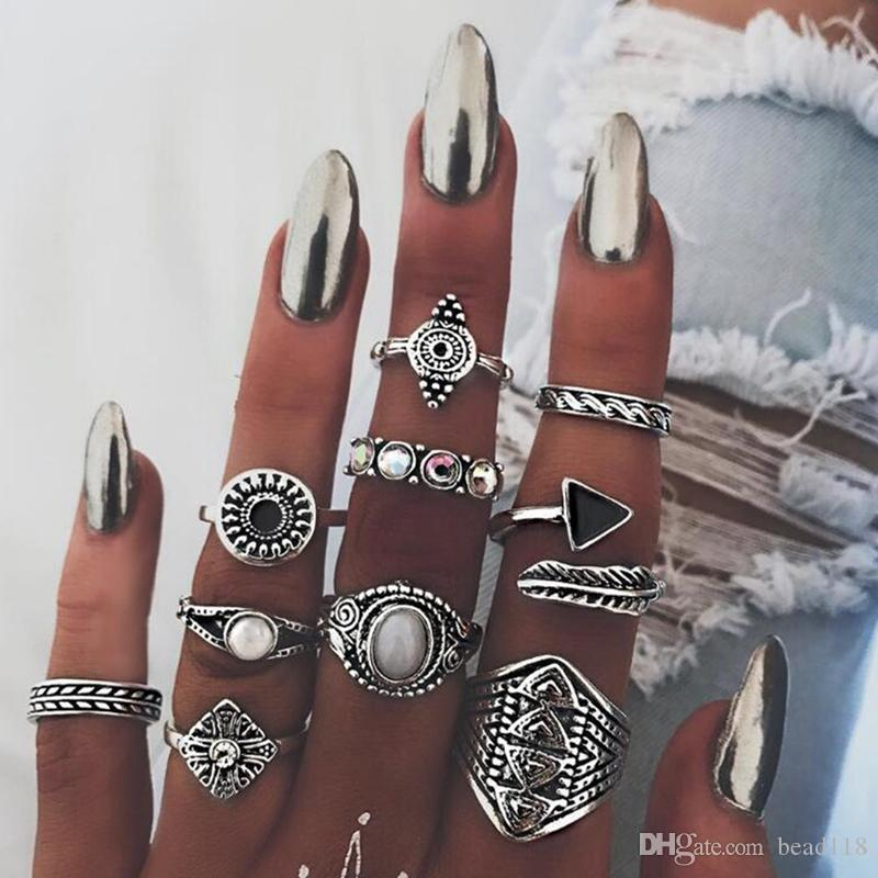5 conjunto (10 Pçs / set) Nova Moda Retro exagero Triângulo anel de Dedo conjunto de Junta Conjunta Anéis Mulheres Acessórios presentes