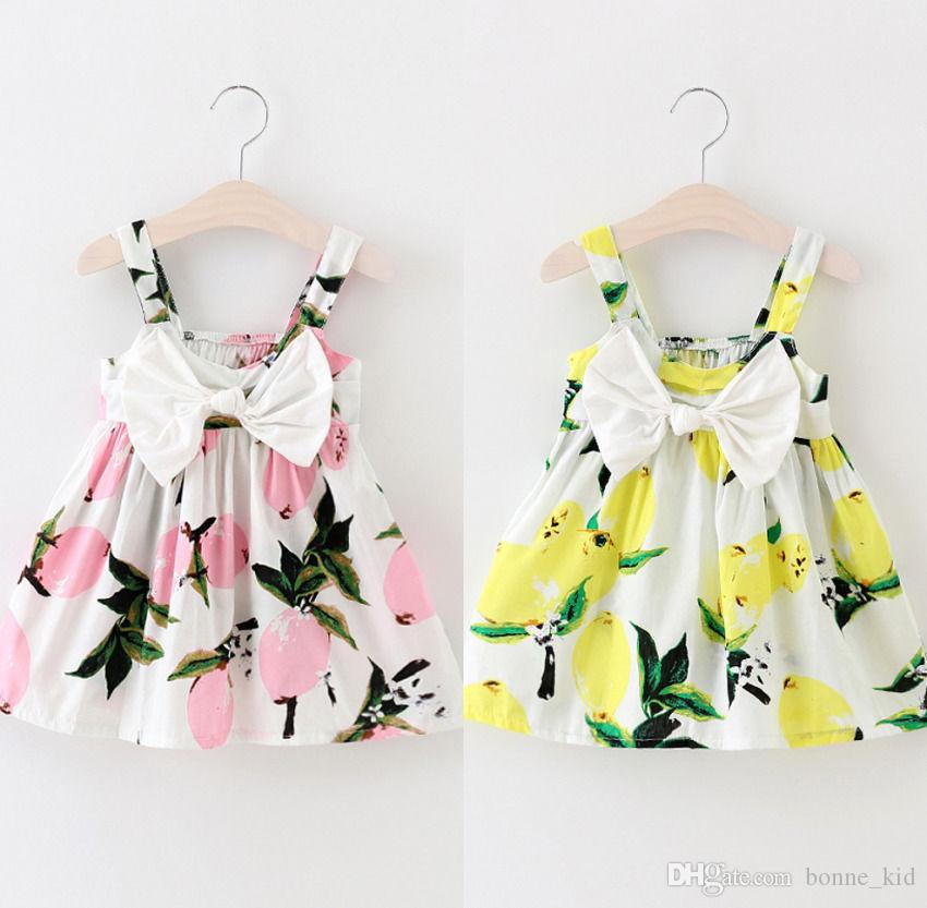 Bébé fille couleur rose et jaune robe de citron enfants filles arc-noeud sangle vêtements costume robes 1-4years