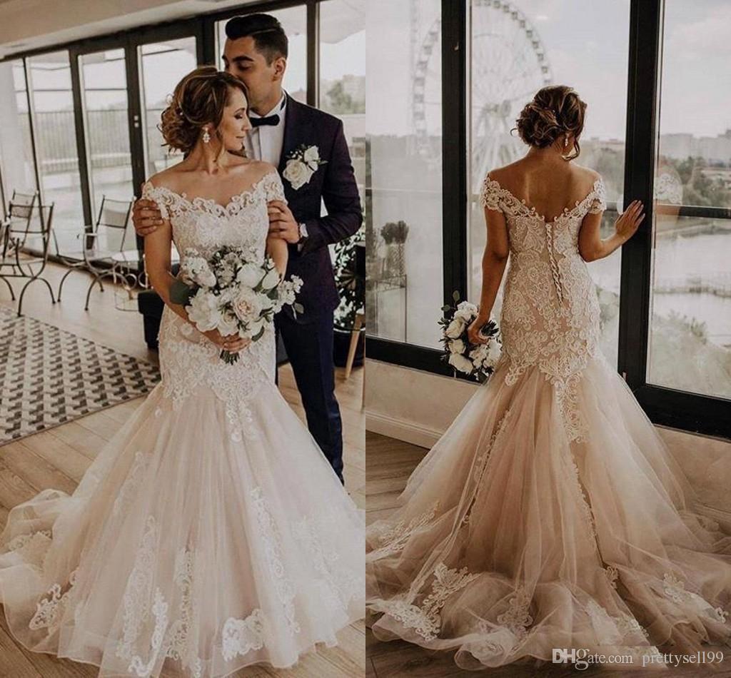 Урожай с плечевой кружевной русалки свадебные платья 2020 с аппликациями разведка поездов кепки рукава тюль свадебные свадебные платья
