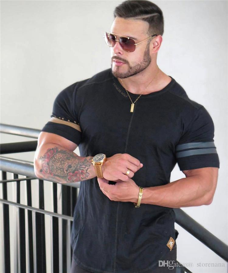 2019 gym fshirt T-shirt Homme Muscle Fitness Brothers Pour Été De Coton Body-building Impression Sport Course À Pied Manches Courtes Pour Homme