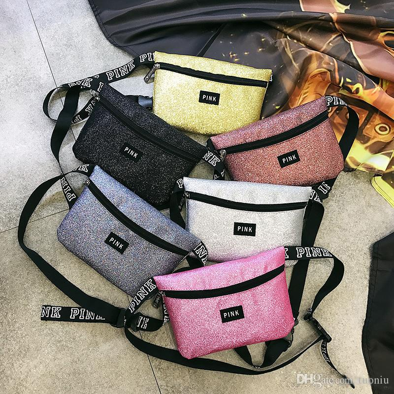Glitter Pink letter Waist Bag LOVE PINK Shiny Sequin Fanny Pack PACKS bling women girls Waterproof Crossbody Shoulder Beach Bags belt travel