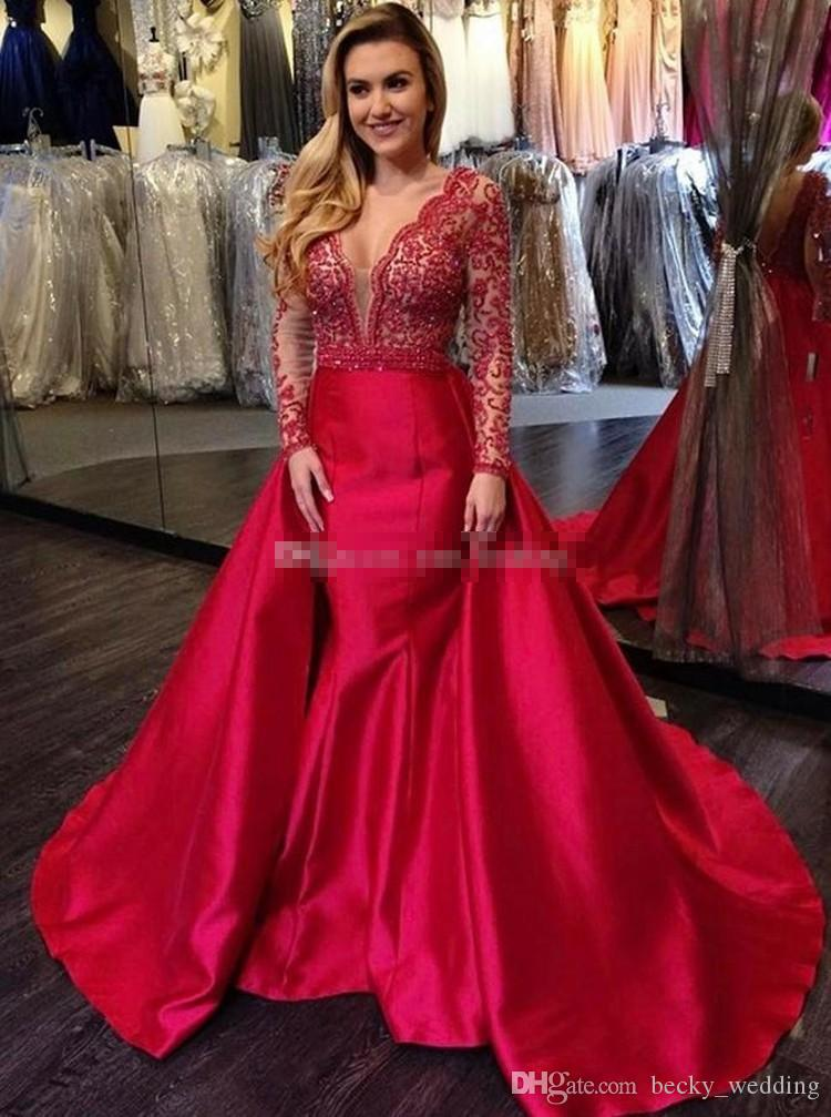 Long Sleeves Mermaid Red Prom Dresses V Neck Appliques Beading Satin Floor  Length Backless Plus Size Evening Dresses Pageant Party Dress Petite Prom  ...