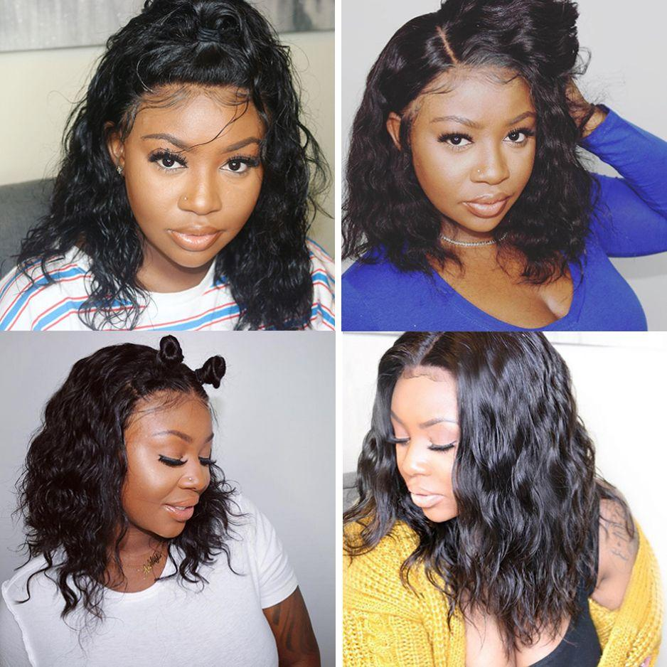 Wavy Bob Wig Virgin Indian Full Lace Wig Middle Part Lace Front Human Hair Wig with Baby Hair