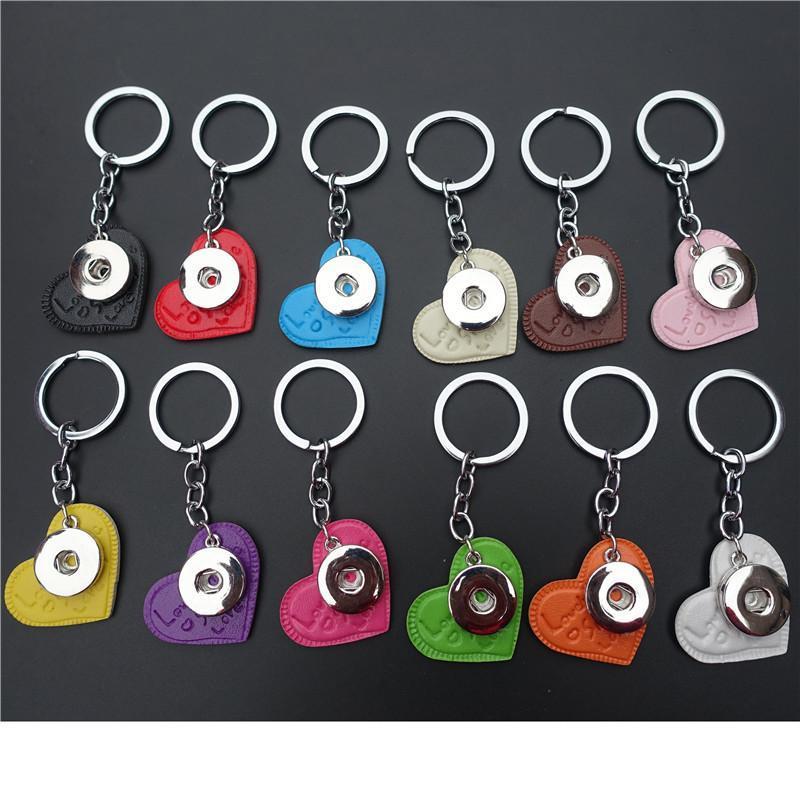 Romantique coloré Coeur Keychain Impression amour Pu cuir avec 18mm Pressions Socket Girl 12 Pieces / Lot Couleurs mélangées