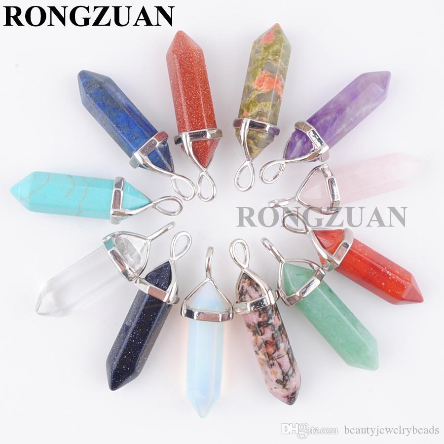 Wholesale Natural Gemstones Hexagonal Pointed Reiki Chakra Pendant Beads Necklac