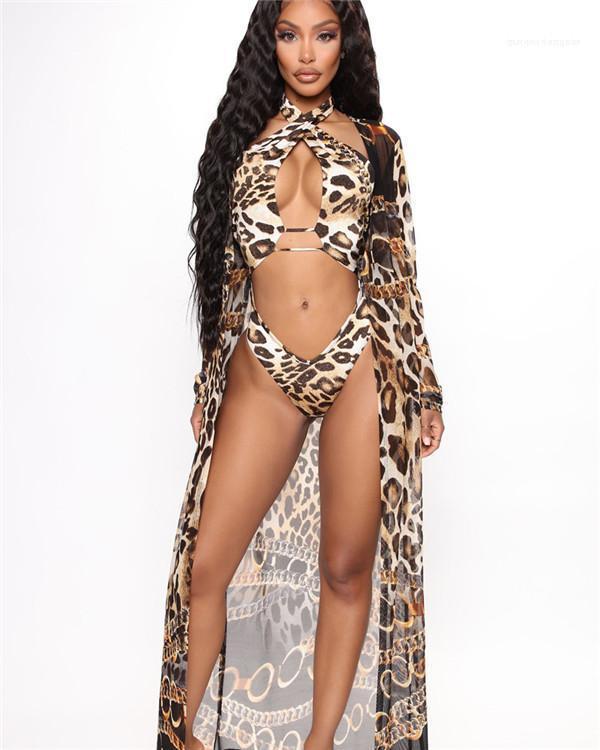 Designer de Verão 2PCS Macacões Halter Cruz escavar Backless banho roupa de praia Imprimir Womens Sexy Leopard Swimwears 2020