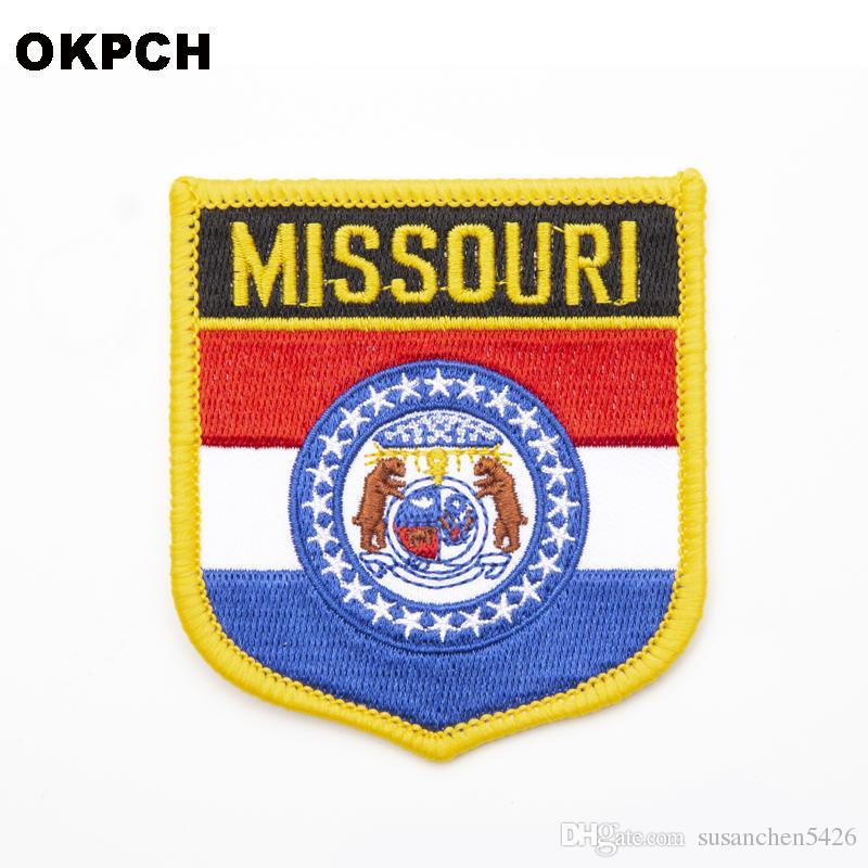 미국 미주리 주 배지에 아이언 옷 스티커에 대한 수 놓은 옷 배지 의류 1pcs 6 * 7cm