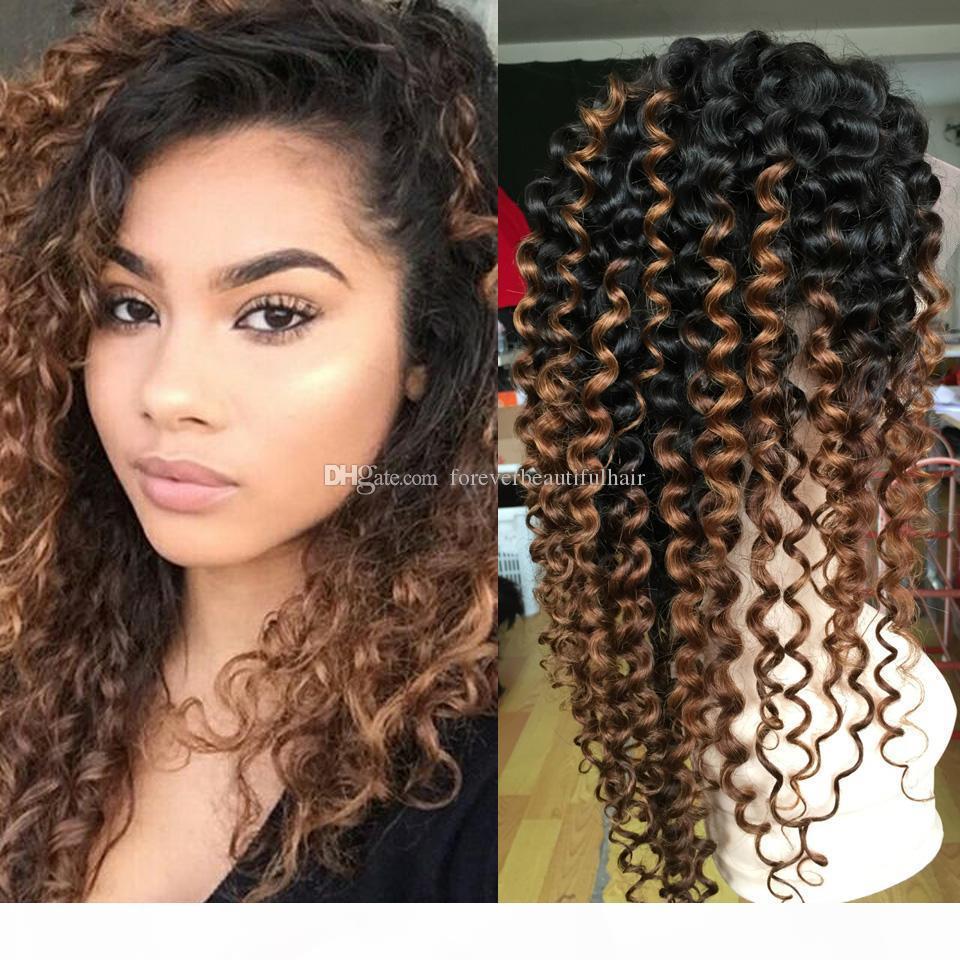 Parrucche piene del merletto Kinky parrucca riccia Ombre malesi merletto della parte anteriore dei capelli umani parrucche per donne di colore 1B 30 Afro parrucca riccia Kinky