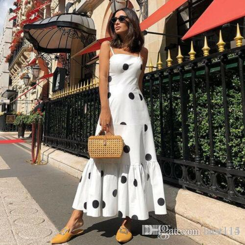 Women's Girls White Spaghetti Strap Sexy Boho Long Maxi Dot Dress High Waist Ladies Club Wear Evening Party Beach Sundress