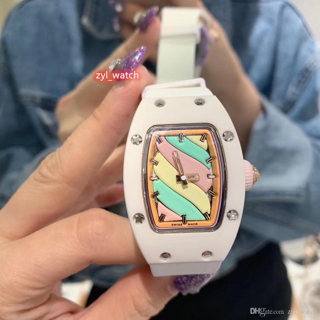 Montre blanc chaud récent en céramique Case Watch Limited Edition femmes Multicolor Lite Bracelet Caoutchouc Mécanique Automatique Montre-bracelet