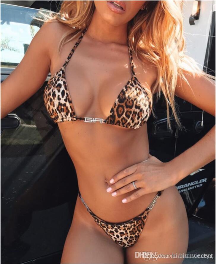 2019 Swimsuits горячей плюс размер девочек молодого стиля для женщин леопарды сексуального раскола бикини бюстгальтер Купальники печати Top Купальник Горячей Seashell костюм раковине