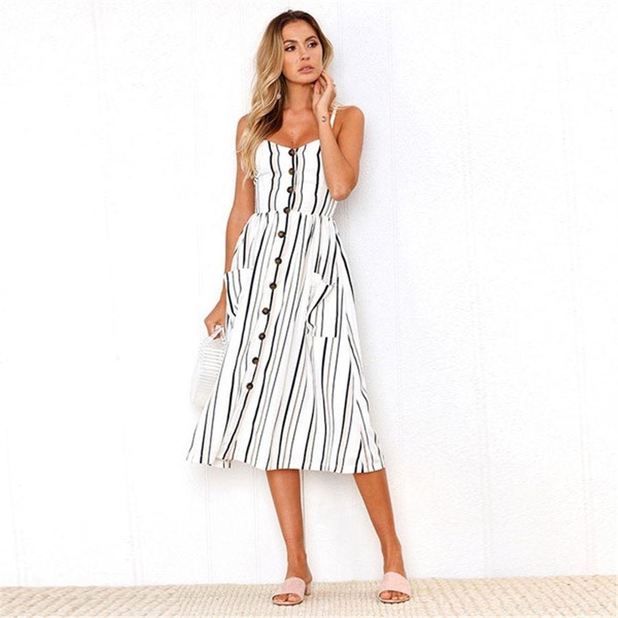 0UfLP Casual Dresses Dresses Fashion Womens New Womens Summer Solid Color Womens Dress Beach Dress Multiple Colour