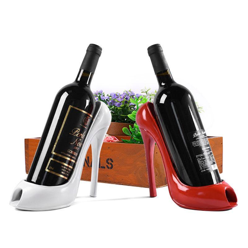 ارتفاع كعب الحذاء النبيذ حامل زجاجة النبيذ حامل أنيق الرف أدوات هدية سلة الملحقات المنزل المطبخ بار حامل التخزين الأحمر