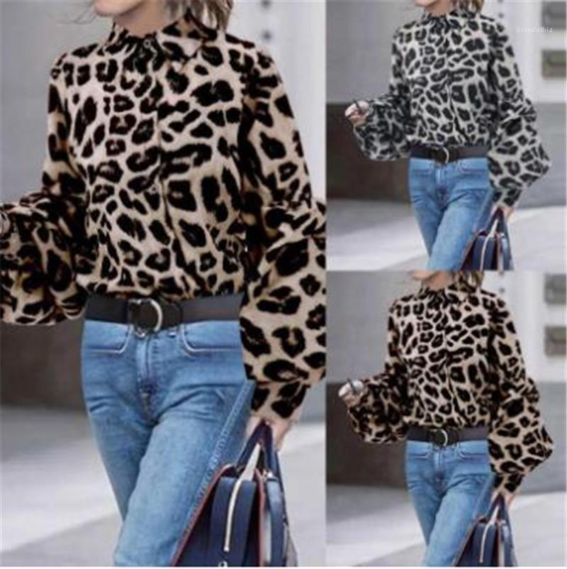 Larga del grano del leopardo de la manga Spots collar del soporte de la manera del algodón camisa de la señora ropa de verano Mujeres camiseta