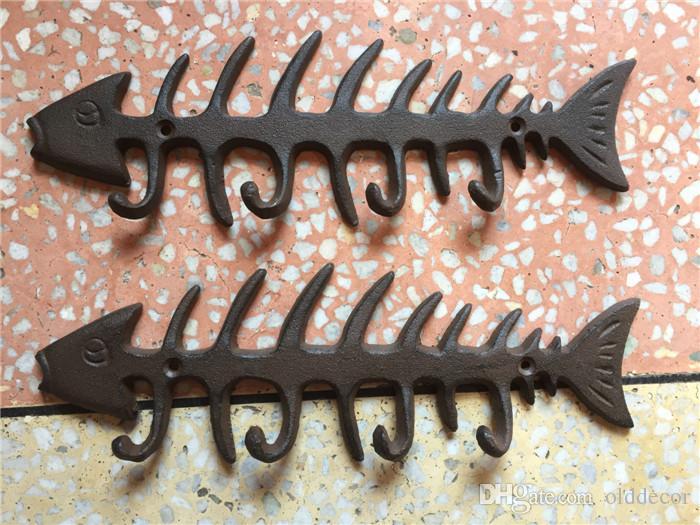 2 Piezas Vintage Hierro Fundido Hueso de pescado Clave Rack Metal Sombrero Toalla Abrigo Perchas Ganchos Titular Náutico Decoración de pared Antiguo Montado en la pared Vintage