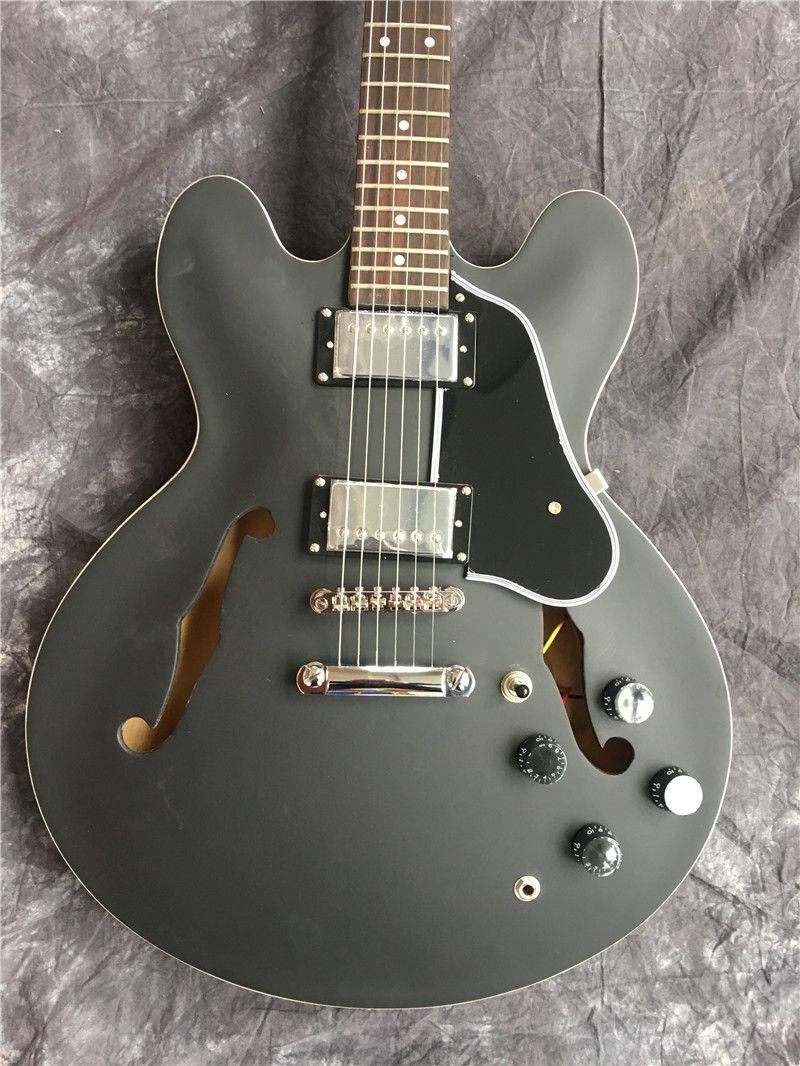 Nero opaco cava personalizzato F chitarra jazz vuoto chitarra elettrica nuova all'ingrosso. Buona qualità del suono, il nuovo stile, il trasporto libero