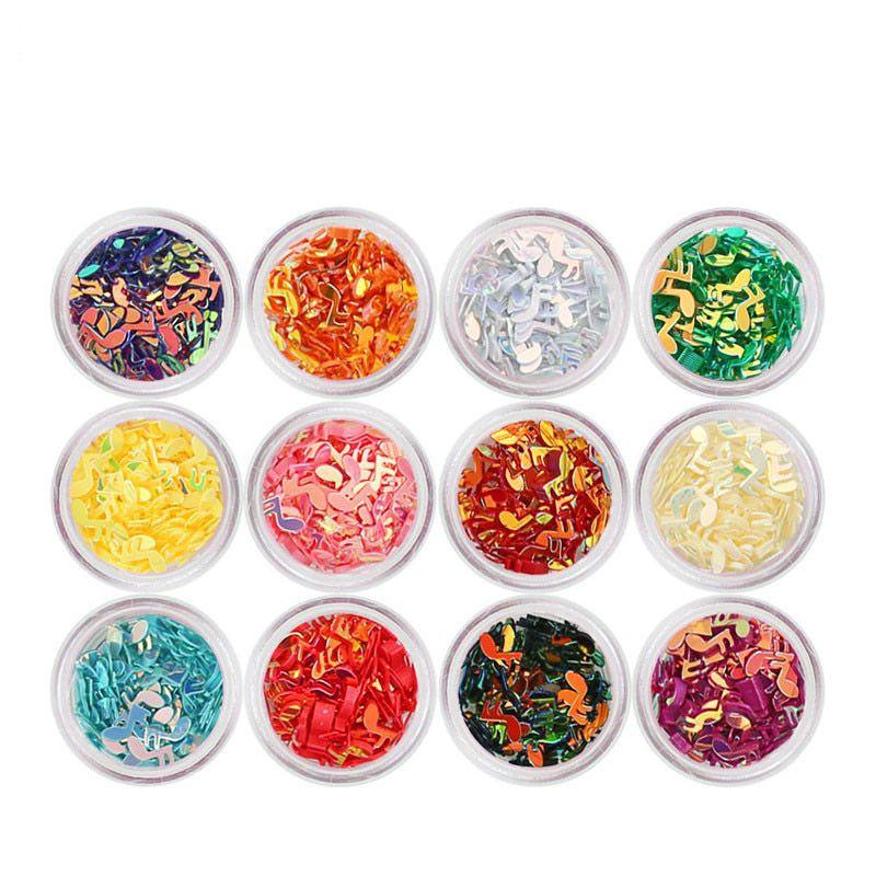 12 Ollas alfabeto carácter color de uñas de arte Formas Cartas nota musical mixto Brillantes gemas bricolaje acrílico diamantes de imitación de la decoración 3D