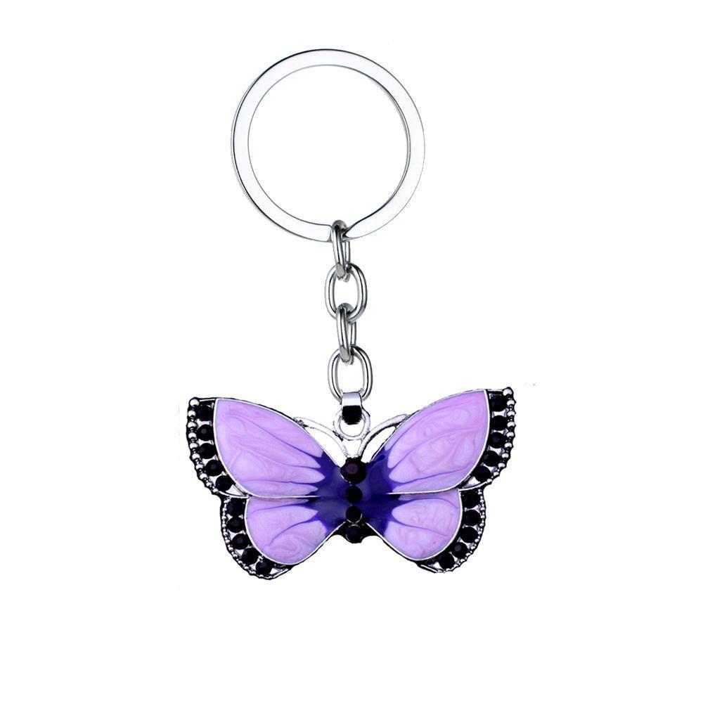 Фиолетовый бабочка Брелки Кристалл Rhinestone шарма Keyrings Влюбленные пары Романтический ювелирные изделия День святого Валентина подарки